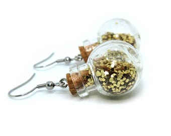 Gold Glitter Miniature Glass Bottle Dangle Earrings