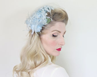 RESERVED 4 R / Vintage 1950s Hat / 50s hat / Pastel blue / Tulle netting / Flowers