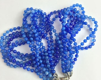 Vintage 50's Multi-Strand Twisted Blue Ombre Beaded Necklace