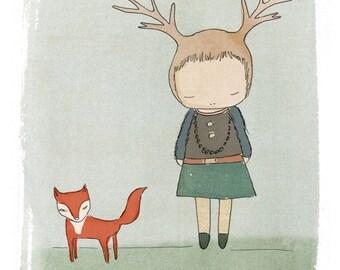 Whimsical Art Print Deer Print with Red Fox