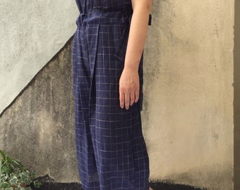 Jumpsuit-JUMPSUIT 100% linen, handmade single head, new spring 2018 Collection