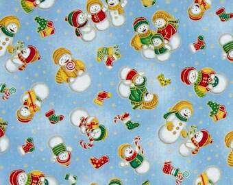 Christmas Fabric, Snowman Fabric:  Fabri-Quilt Seasons Greeting SNOWMAN BLUE 100% cotton fabric by the yard  (FQ185)