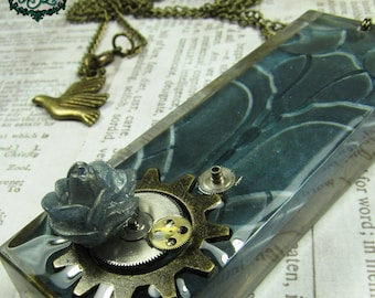 TURNING GEARS Steampunk Architectural Resin Pendant with Antique Bronze Necklace