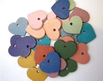 Painted Wood Heart Pendant Charms Mixed Colors Drilled Lot of 24