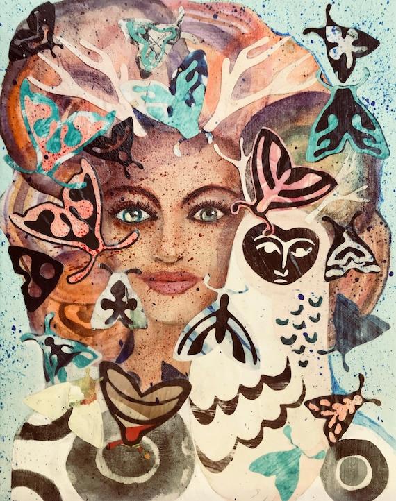 Original Mixed Media Collage Watercolor Painting Moth Magic