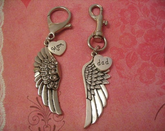 Angel Wing Key chains Mom and Dad Key Gift Accessories