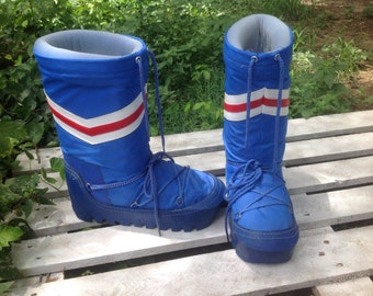 80's retro Funky MOON SNOW BOOT,Ski,Rain,Insulated Resort,Hipster