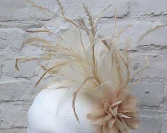 Ivory cream feather bridal headpiece fascinator, wedding hair accessory