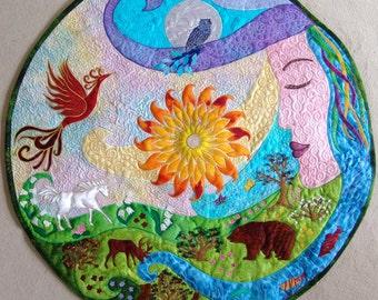 Mandala,horoscope,quilt,art,spiritual home decor,Mother Earth,dragon,totem animal,Sun,Moon,seven chakras,meditation,lotus,original,yoga.