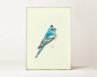 Print / Poster with Blue Bird illustration - A4 size
