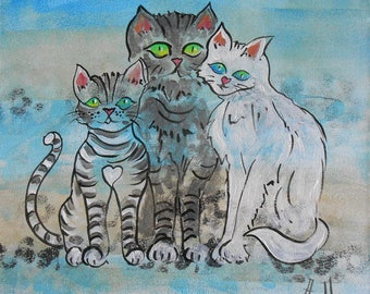 Painting Family of cats