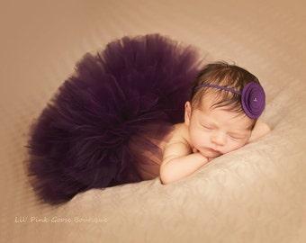 NEWBORN PLUM TUTU Set, Plum tutu with headband, Baby Tutu, Infant Tutu, Newborn Photography Prop, Photo Prop, Plum tutu skirt, Plum tutu