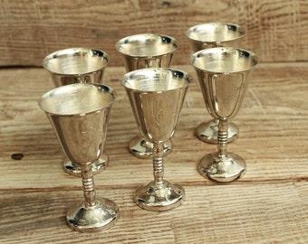 Vintage stemware for cognac (brandy)  Set of 6 small  glasses (25 gram)