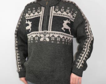 Vintage Bavarian Green and Grey Pure Wool  Jumper / Sweater by O S Trachien  Size L Traditional Ski Hunting Fishing