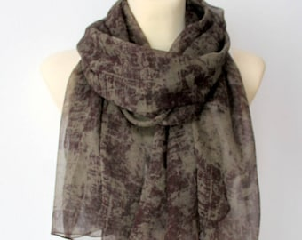 Silk Chiffon Scarf Brown Silk Scarf Sheer Scarf Brown Spring Scarf Silk Scarves for Women Lightweight Scarf Gift for Mother Summer Scarf