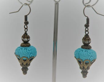 Turquoise and Antique Brass Earrings