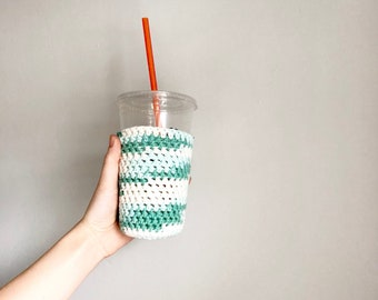 Green and white iced coffee cozy. Crochet coffee cozy. stocking stuffer.  Mint ombre cup cozy. Cotton cup sleeve. Eco friendly cup jacket.