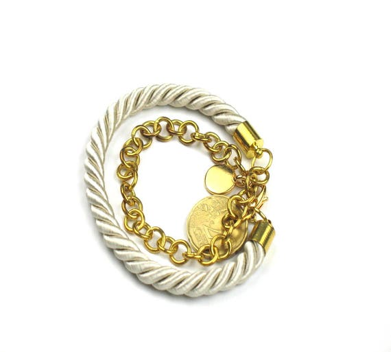 Wrap Rope Bracelet in Beige with Gold Chain, Initial Disc and Spanish Coin Charm, Personalized Gift