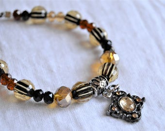AMBER and BLACK Striated Glass Beads with Earrings Ornate Amber Color Charm