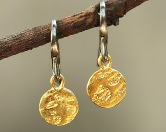 Gold plated brass discs 8.5 mm earrings with texture and hangs on sterling silver oxidized hook(FBA)