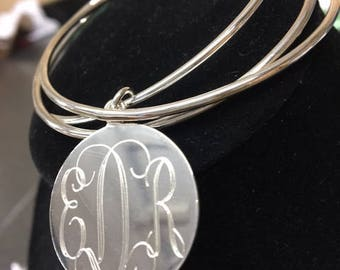 Monogrammed  Bracelet, Silver Bracelet, Triple Bangle Bracelet, Bangle, Stackable