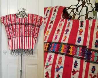 Vintage 70s Guatemalan Huipil top jacket poncho red medium