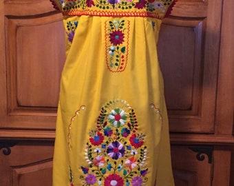 Wedding Brides Maid Fiesta Custom Puebla traditional Mexican embroidery dress ladies womens small medium large xlarge plus