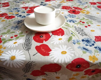"Linen Wedding tablecloth natural linen poppy meadow red white flowers Eco Friendly 56""x56"" or made to order your size, great GIFT"