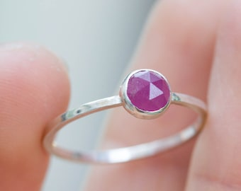 Ruby ring - skinny stackable ring with Ruby stone, July birthstone, sterling silver, 9k gold