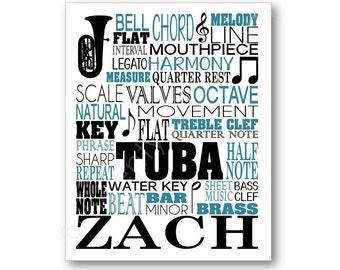 Tuba Typography Poster Print, Tuba Canvas, Tuba Player Gift, Tubist Art, Tuba Player Art Print, Band Wall Art, Band Teacher Gift, Tuba Art