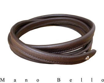 Leather Wrap Necklace, Minimalist Leather Choker, Bracelet, Collar Necklace, Chocolate Brown, Wrapping Leather neck, Men, Women, custom made