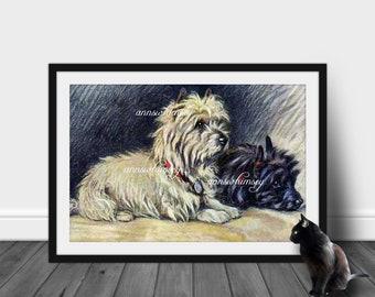 "Family Room Art, Living Room Art, Kitchen Art, Home Decor,  ""Footsteps"", Dog Art,  Restored  Antique  Art  #165 FREE SHIPPING"