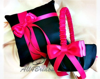Hot Pink and Black Wedding Pillow Basket - Flower Girl Basket Ring Bearer Pillow - Fuchsia Hot Pink Wedding Ceremony Decor