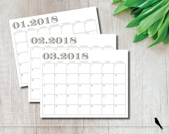 2018 Printable Wall Calendar - Modern Monthly Wall Calendar and Family Planner - Professional Calendar - Instant Download