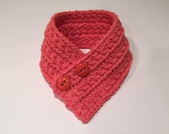 Crochet Dog Cowl Scarf for small dog, Tangerine