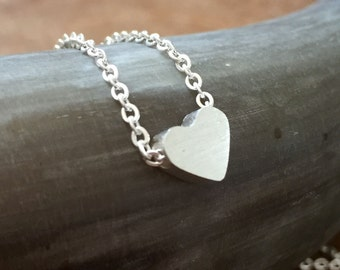 Love - necklace with a cute, little heart pendant. Silvertone, cute, steel, love, couple, sweet, romantic