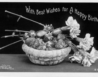 Vintage Black and White Strawberries and Carnations Birthday Postcard Photograph