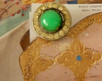 Antique Green Brooch. Vintage 50's Brooch with Rinestones