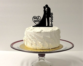 MADE In USA, Silhouette Cake Topper Mr and Mrs Personalized Silhouette Wedding Cake Topper Bride and Groom Cake Topper