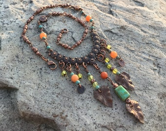 Bohemian Necklace - Copper Bib with Beaded Dangles - Colorful beaded necklace, Bohemian Gypsy