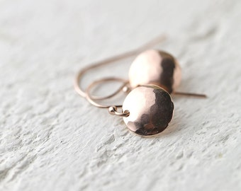 Tiny Hammered Rose Gold Earrings, Gift for Mom, Mothers Day Gift, Rose Gold Fill Jewelry, Gift for Women, Jewellery by Burnish
