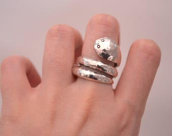 Sterling silver Ring Snake, silver 950, fine jewelry