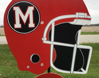 Football helmet with name & # Custom, handmade, personalized wooden sports yard signs