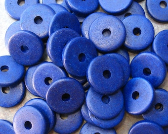 25 Mykonos Greek Ceramic Beads - COBALT BLUE 13mm Round Disk Beads