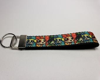Key Fob Keychain made with Powerpuff Girls Ribbon, Powerpuff Girls Wristlet, Powerpuff Girls Keychain, Nerdy Gift, Nerdy Wristlet, Cartoon