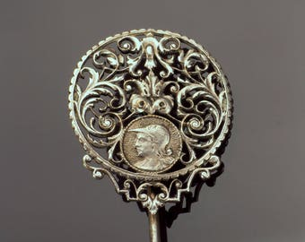 Mens Lapel Pin, Stick Pin, Silver with Minerva Goddess of War