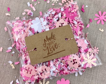 Pink Ladybug Paper Confetti, Floral Card Confetti, Biodegradable Wedding Confetti, Recycled Throwing Confetti, Shower Decor, Table Confetti
