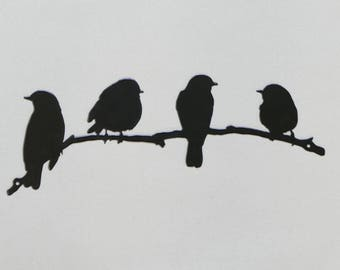 """Birds on Branch 2 - Small 12"""" - Metal Wall Sign - (DD14---)"""