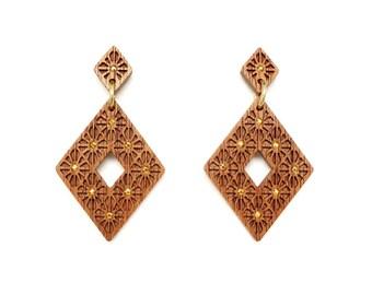 Art deco jewelry, Rhombus statement earrings, Wooden earrings for women, Big earrings gold drop earrings, Geometric earrings, Wood jewelry