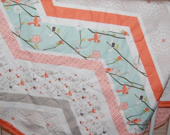 baby girl quilt-minky baby quilt- floral baby quilt-  bird baby quilt- baby bedding- coral baby quilt- crib bedding